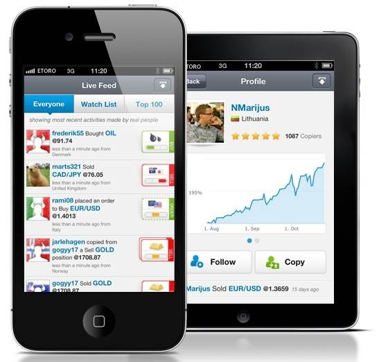 eToro Android mobile app